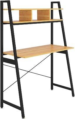 Radelldar Bureau avec Rangement Table d'ordinateur Bureau Informatique Petit Espace Bureau Enfant Table de Bureau avec Etageres Postes de Travail PC Table d'étude en Bois et Métal (Oak)