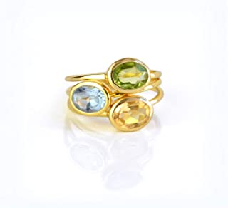 Mothers Ring Set, Kids Birthstone ring combo, Stackable Birthstone Rings, Christmas Gifts for Mom, Small Oval Ring Combo