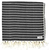 Sand Cloud Turkish Towel - Peshtemal Cotton - Great for Beach or as a Blanket - The Gocek (Black)