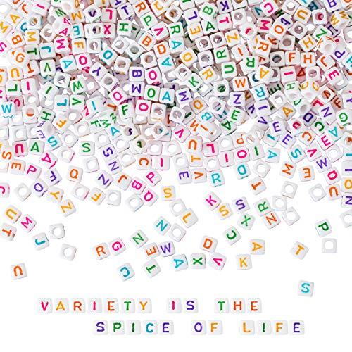 Naler 1200 Abalorios Letras Cuadradas de Colores Cuentas Alfabeto para Pulseras DIY Manualidades(6mm, 26 Letras)