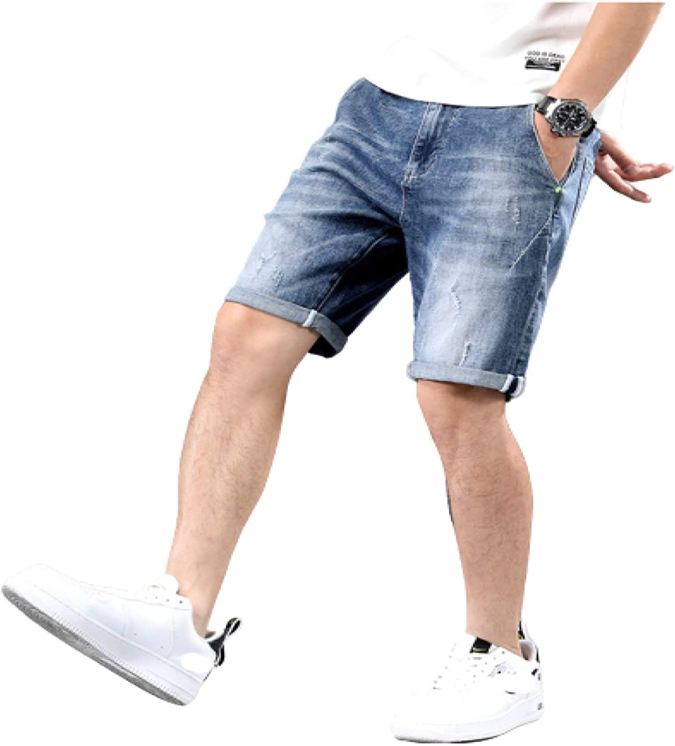 Wantess Men's Straight Plus Size Denim Shorts Fashion Cuffed Loose Fit Comfortable and