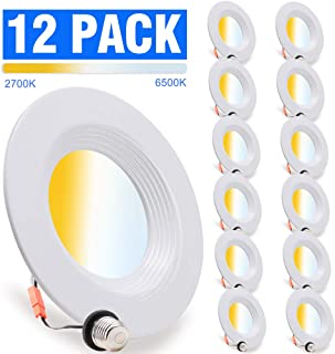 12 Pack, LED Recessed Lighting 5/6 inch Downlight, 10.5W=85W, Dimmable, Damp Rated, 5 Color Changing(Warm to Daylight), Simple Retrofit Installation, Energy Star & ETL Listed