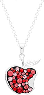 """Disney Snow White Jewelry for Women and Girls, Silver Plated Pave Crystal Apple Pendant Necklace, 18"""" Chain"""