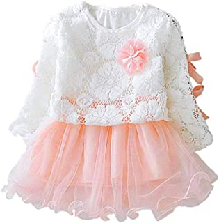 Alinory Baby Girl Dress, Comfortable Lace Princess Dress Baby Girl Suit Long Sleeve Clothes Dress(100cm-Pink)