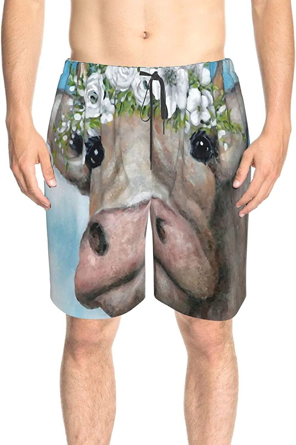 JINJUELS Men's Swim Trunks Colorful Cow Painting Swim Board Shorts Quick Dry Comfy Summer Boardshorts with Pockets