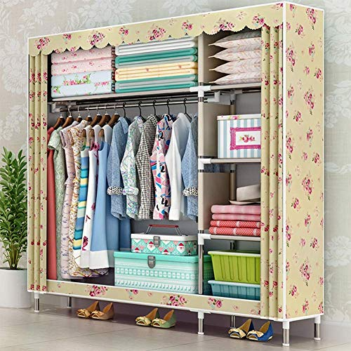 COLiJOL Furniture Folding Fabric Canvas Wardrobe,Canvas Closet Storage Cabinet Handy Installation Save Space Clothes Pendant Storage for Bedroom Dormitory 49'X18 X66,F,D