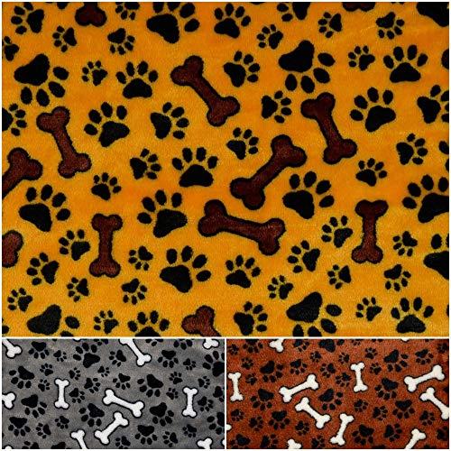 DIE NÄHZWERGE Superflausch Knochen & Pfoten H26, in 3 Farben - Meterware ab 50cm | Wellness-Fleece Softplüsch Flanell Hund Katze Tier (maisgelb)