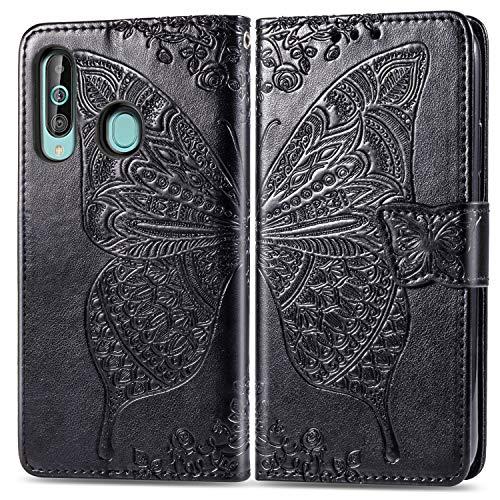 Feyyxi FESD20235 - Funda de piel tipo cartera para Samsung Galaxy A60 y M40 (con tarjetero, función atril, cierre magnético), color negro