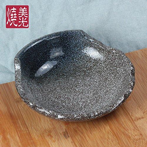 YUWANW Cuisine Japonaise Assiette en Céramique Assiette Plat Riz Frit Porcelaine Restaurant Créative Vaisselle Saladier, Pierre dans Le Bleu (Grand)