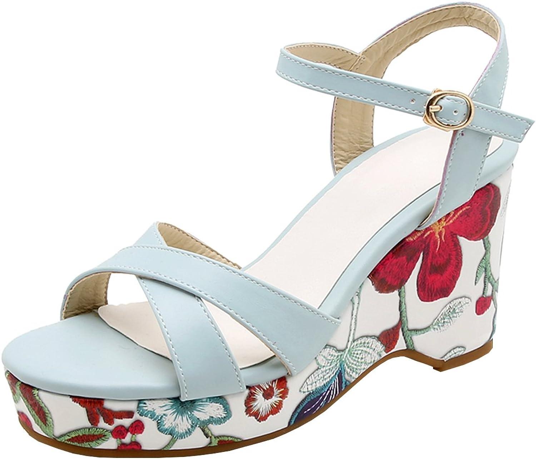 Artfaerie Women's Floral Print Wedge High Heel Sandals Slingback Ankle Strap Platform Sweet shoes