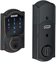 Schlage BE469NX Camelot Electronic Touchscreen Deadbolt C Keyway with 12344 Latch 10116 Strike Aged Bronze Finish