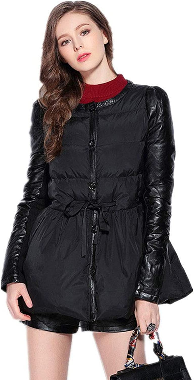 YZ-HOD Damen Daunenjacke Herbst und Winter neue europische und amerikanische Gre kurze Mode Leder rmel Daunenjacke, schwarz