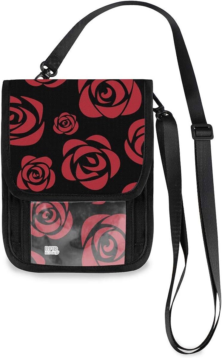 VIKKO Red Rose Black Travel Free shipping Neck Courier shipping free shipping Sm Wallet With - Blocking RFID