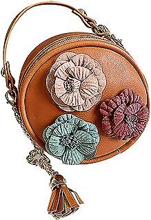 Wultia - Bags for Women 2019 WChildren Flowers Leather Circular Bag Flower Tassels Shoulder Messenger Bag Bolsa Feminina Khaki