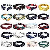20 Pcs Boho Headbands for Women, Meartchy Vintage Womens Headbands, Head Bands Women Hair, Floral Vintage Twisted Criss Cross Elastic Head Wrap Hair Accessories
