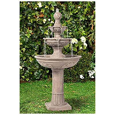 """Lamps Plus Stafford Italian Outdoor Floor Water Fountain 48"""" High Three Tiered for Yard Garden Patio Deck Home - John Timberland"""