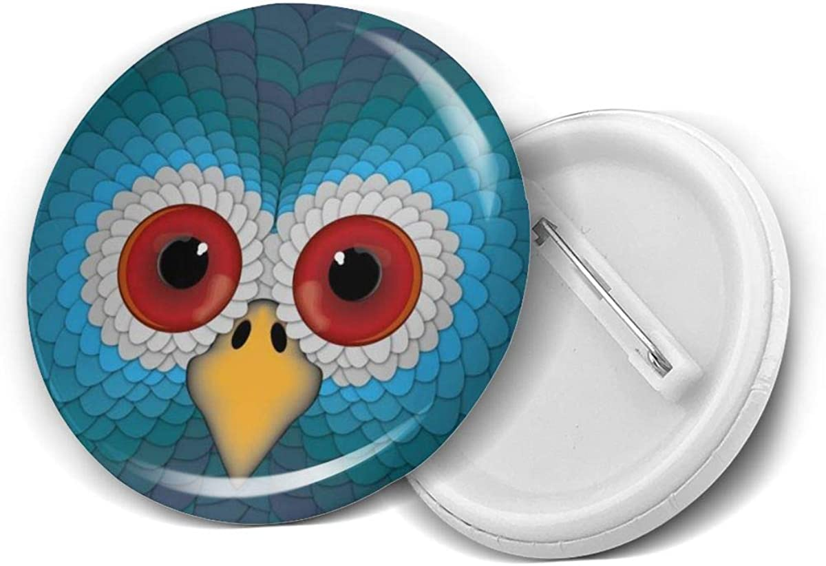 Cartoon Owl Red Eyes Mad Angry Round Brooch Badge Pins For Women Men Girls T Shirt Bag Backpacks Hat Accessories