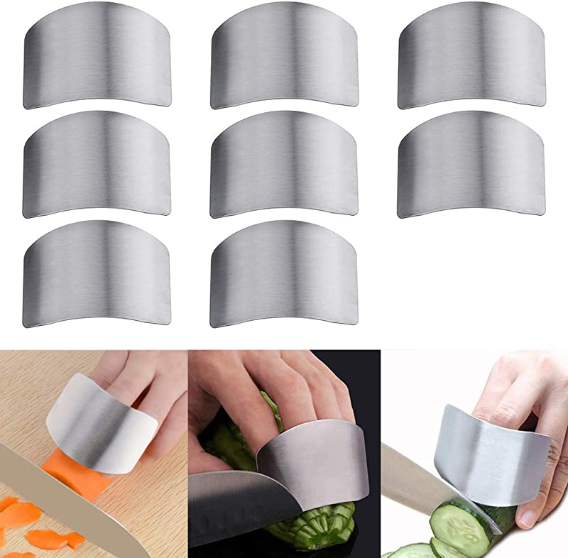 Luckycivia 8 Pack Stainless Steel Finger Guard Guard Finger Protector Safe Knives Guard Chop Safe Slice Kitchen Tool For Dicing And Slicing In Kitchens