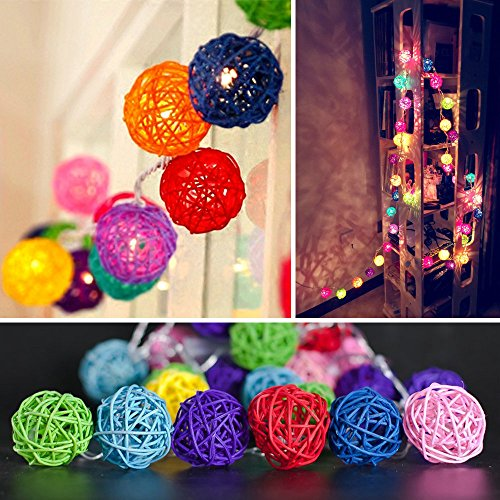 9.8 Feet 20 Rattan Ball Fairy String Lights Plug in, Flexible Romantic Warm Lighting for Home Decor (Colorful) 2