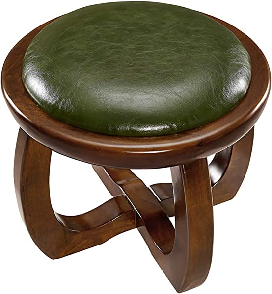 Zenggp Sofa Stool Faux Leather Stool Change Shoe Stool Adult Children Stool Environmental Protection Safety Paint Solid Wood Stool Green 373732