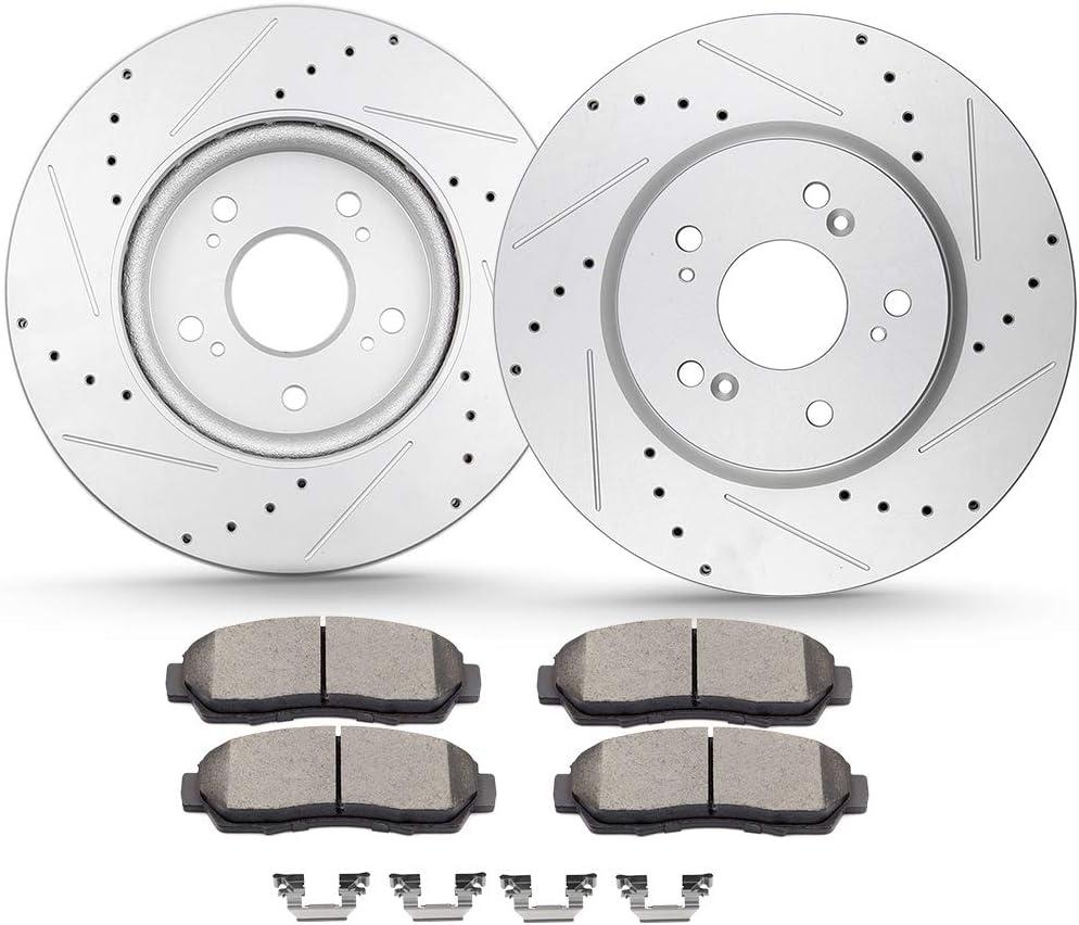 CTCAUTO Ceramic Brake Popular overseas Rotor Pad and fit Kits 2 for Clip Hardware Genuine