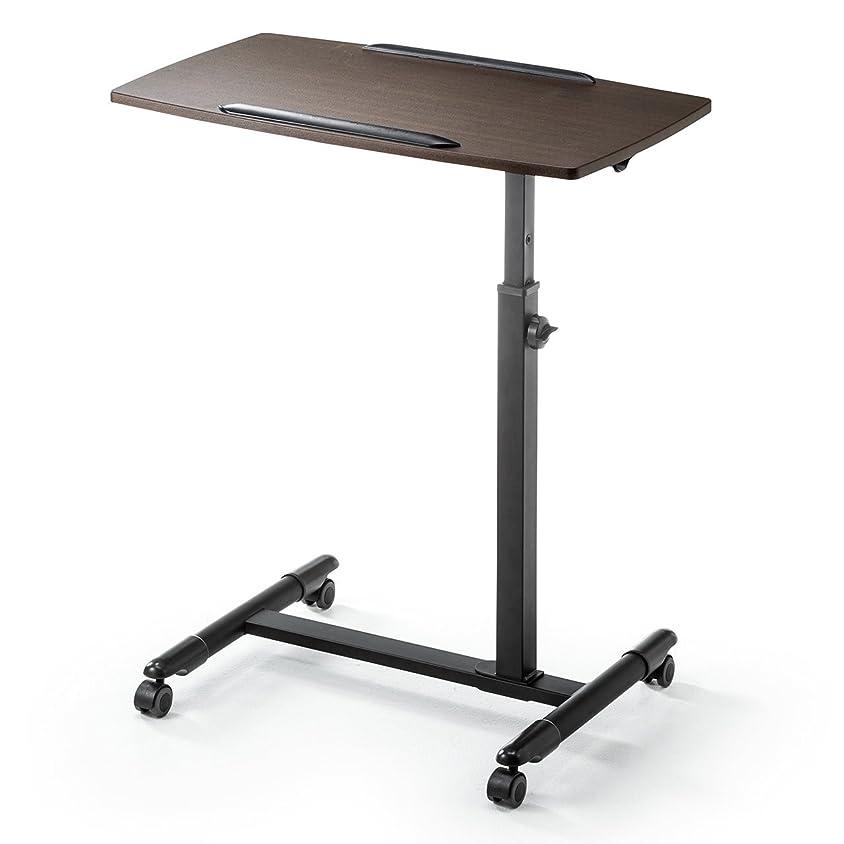 教えて農学卒業サンワダイレクト ノートパソコンスタンド ベッド ソファ サイドテーブル A3対応 高さ調整 キャスター付き 木目調 100-DESK044M