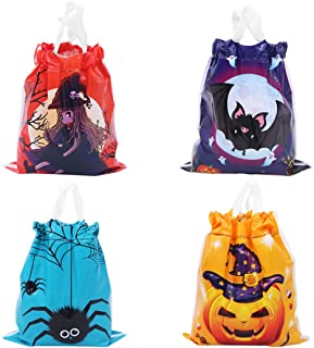 50 Pcs Large Halloween Drawstring Goody Bags Trick or Treat Candy Bags 7.9 x 7 Inch Pumpkin Spider Witch Bat Pattern Snack...