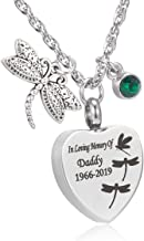 Dragonfly Urn Necklace for Ashes Personalized Gemstone Memory Pendant Cremation Jewelry