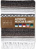 Zulay Home Authentic Mexican Blankets - Hand Woven Yoga Blanket & Outdoor Blanket - Artisanal Boho Blanket & Car Blanket for Beach, Picnic, Camping, or Home Throw Blanket (Brown Light Gray)