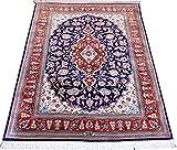 Adorno de seda 150 x 100 cm alfombra persa de qom 100% real color seda Orient Persia irán alfombra con firma 'qom RAZAVI' aprox 1 milones nudos/m²