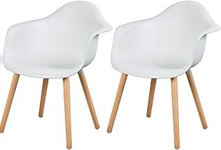 eSituro SDC0014-2 Pack de 2 Sillas de Comedor Silla de Oficina con Reposabrazos Silla Cocina PP Diseño Nórdico Patas Madera Blanco