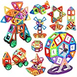 iKing マグネットおもちゃ 128PCS マグネットブロック 人気 磁石おもちゃ 男の子 女の子 磁石ブロック 磁気おもちゃ 知育玩具 磁性構築ブロック 子供おもちゃ 贈り物 ギフト 誕生日 クリスマス プレゼント 収納ケース付き