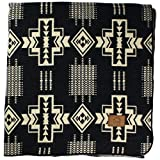 Inca Fuzzy Ecuadorian Blanket - Aztec/Southwest Artisanal Style - Use As Fall Throw Blanket, Camp Blanket, or Fluffy Cover for Indoors and Outdoors (Black, XL)