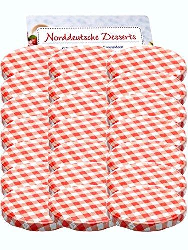 50er Set Ersatzdeckel Twist-Off-Deckel für Sturzgläser To 82 Rot Karriert Sturzglas passend für 230, 350, 435, 540, 565 ml Einmachgläser Einkochgläser