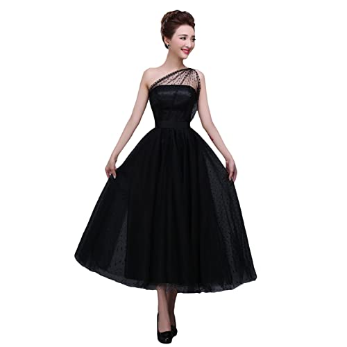 b6a7d3f9bd8 BRL MALL Women s Tea Length One Shoulder Tulle Evening Dress