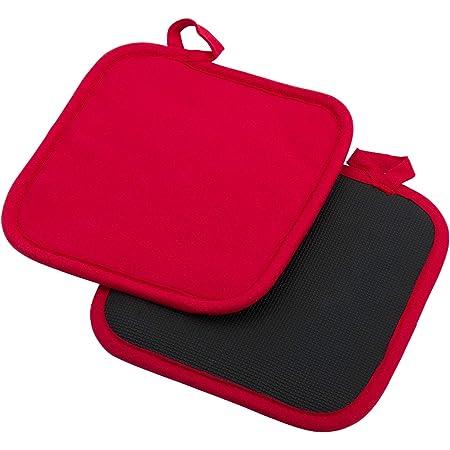 Westmark 2 Maniques, Carrées, Dimensions : Environ 20 x 20 cm, Coton/néoprène, Couleur : Rouge/Noir, 15622270
