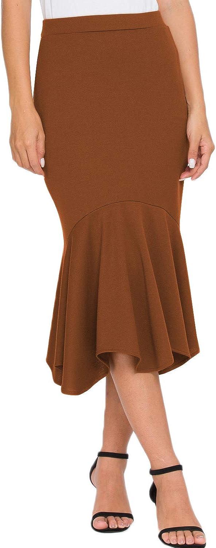 ForeFair Women's Elastic High Waist Elegant Mermaid Bodycon Midi Pencil Skirt