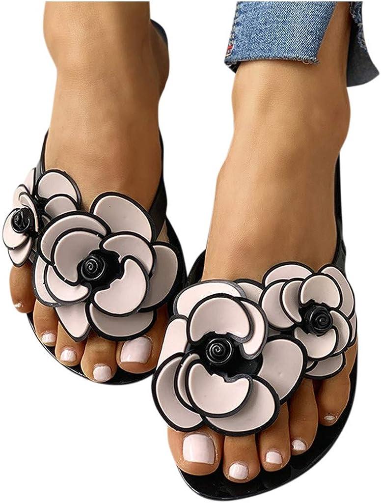 AODONG Sandals for Women Dressy Summer,Womens 2021 Fashion Flower Flat Beach Travel Slippers Flip Flops Sandals