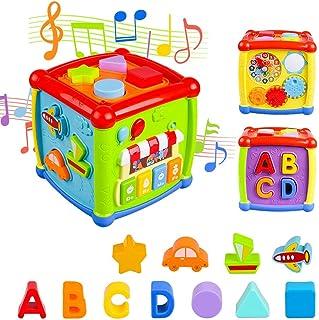 AiTuiTui Cube d'Activités pour Bébé, Centre d'activités Multifonctions 6 en 1 Préscolaire Boîte d'apprentissage sur l'éduc...