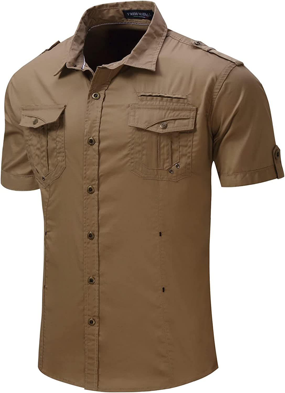 Mens Dress Shirts, Fitted Short Sleeve Elastic Casual Button Down Shirts, Casual Cotton Spread Collar Tops