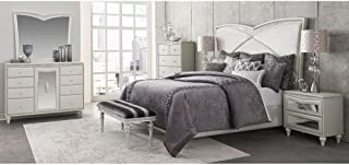 Aico Amini Melrose Plaza E King Upholstered 5 Piece Bed, Nightstand, Dresser & Mirror, Chest in Dove Grey