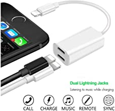 [Apple MFi Certified] Lightning Headphone Earphone Adapter Aux Splitter 2 in 1 Dual Jack Adapter Cable Connector Audio & Charger Compatible with iPhone X/XR/XS/XSmax/8/7 Accessories Support All iOS