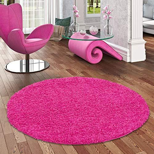 ALOHA Hochflor Langflor Shaggy Teppich Pink Rund - Sofort Lieferbar in 4 Größen