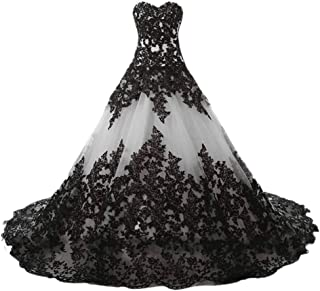 Sponsored Ad - APXPF Women's Vintage Gothic Wedding Dress Elegant Black Appliques Prom Ball Gowns