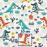 Krokodil Blau Rot 100% Baumwolle Baumwollstoff Kinder
