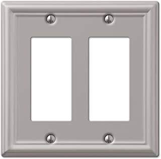 Double GFCI Decora Rocker Wall Switch Plate Outlet Cover - Brushed Nickel