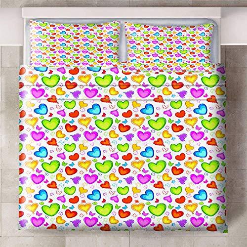 Ababilart Juego De Cama 3 Piezas Color Amor Mariposa 200X200 Cm Adultos De Microfibra 3 Piezas Impresión Digital 3D Funda Nórdica Muy Suave De Microfibra con Cremallera Y 2 Fundas De Almohada