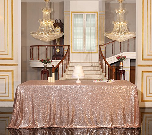 "PartyDelight 90"" x 156"" Rose Gold Sequin Tablecloth for Wedding, Baby Shower, Birthday, Banquet, Christmas, and Banquet."
