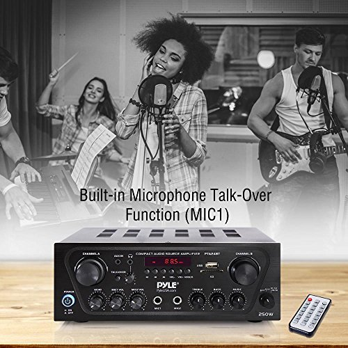 Pyle Upgraded Karaoke Bluetooth Channel Home Audio Sound Power Amplifier w/AUX-in, USB, 2 Microphone Input w/Echo, Talkover for PA, Black (PTA24BT) Minnesota