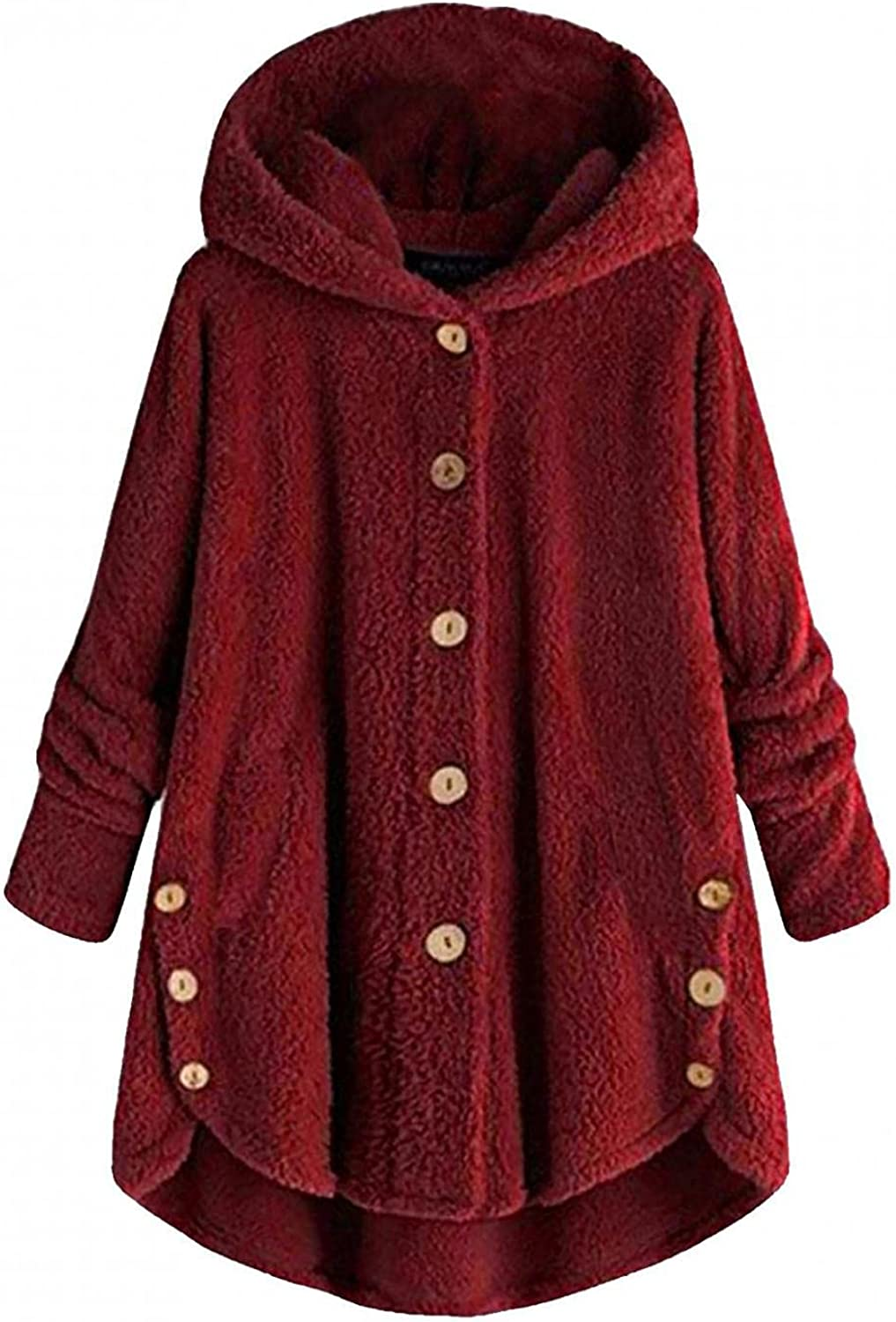 Womens Thigh Length Winter Jacket Button Size Wool Max 46% OFF Fixed price for sale Flu Plus Coat